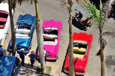 Quadro Carros retros em Havana.