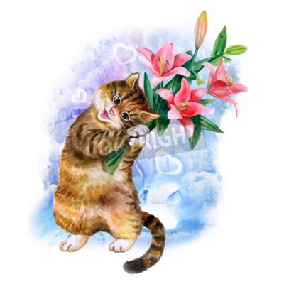 Quadro Cartão bonito da aguarela com gato e flores isolados no fundo azul com corações. Gatinho bonito com lírios. Ideal para o dia de Valentin, aniversário, cartaz do convite do casamento. Bouqet de mola bo