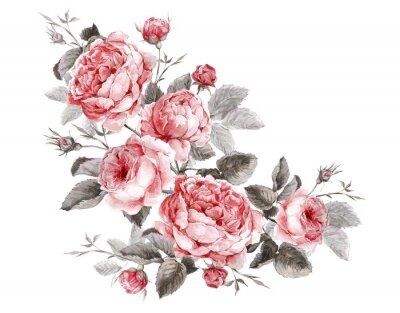 Quadro Cartão clássico do vintage floral, ramalhete da aguarela de