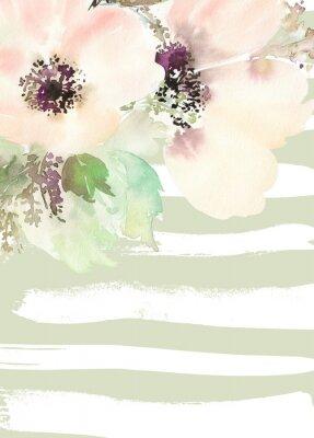 Quadro Cartão com flores. Cores Pastel. Feito à mão.