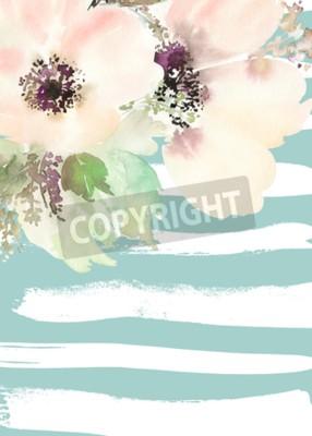 Quadro Cartão com flores. Cores pastel. Feito a mão. Pintura aquarela. Casamento, aniversário, Dia das Mães. Chuveiro nupcial.