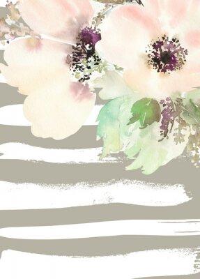 Quadro Cartão com flores. Cores Pastel. Feito à mão. Pintura da aguarela. Casamento, aniversário, Dia das Mães. Chuveiro nupcial.