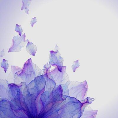 Quadro Cartão de aquarela com pétala de flor roxa