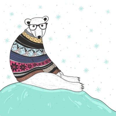 Quadro Cartão de Natal com bonito moderno urso polar. Urso com fair isle