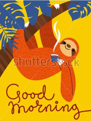 Quadro Cartão de vetor com caráter de preguiça bonitinha e xícara de café. Bom dia pôster
