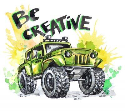 Quadro Cartão desenhado mão com grande carro e letras. As palavras são criativas. Ilustração multicolor de aquarela. Desporto louco ativo. Transporte.