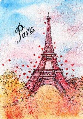 Quadro Cartão do vintage. Ilustração da aguarela. Paris, França, Torre Eiffel
