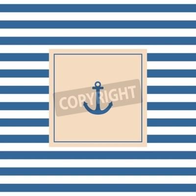 Quadro Cartão ou convite náutico do vetor com fundo pastel da âncora e listras brancas azuis