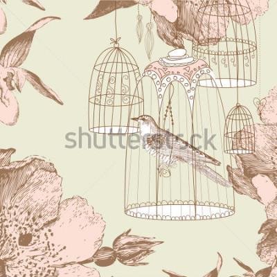 Quadro cartão vintage com around pássaro na gaiola