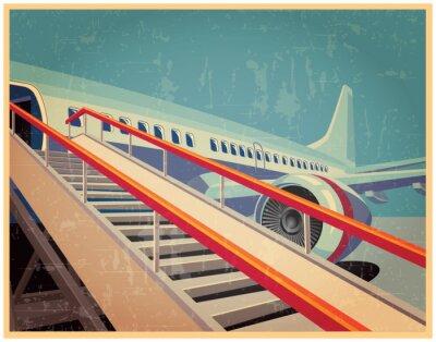 Quadro Cartaz do vintage com avião
