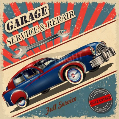 Quadro Cartaz retro da garagem vintage