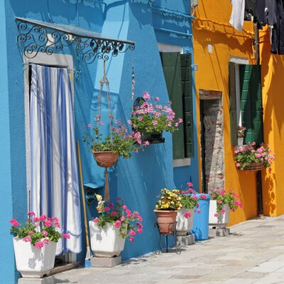 Quadro casas pintadas vivas na vila de Burano, em Veneza