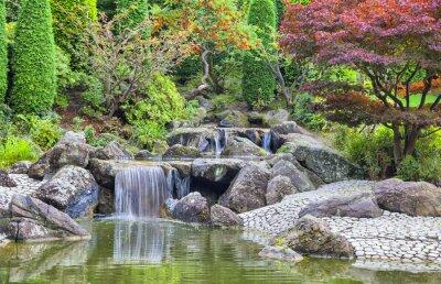 Quadro Cascade waterfall in Japanese garden in Bonn