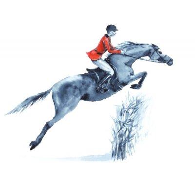 Quadro Cavaleiro e cavalo da aguarela, saltando um obstáculo na floresta no branco. Cavaleiro no revestimento vermelho na competição de salto do steeplechase. Inglaterra esporte equestre. Ilustração do desen