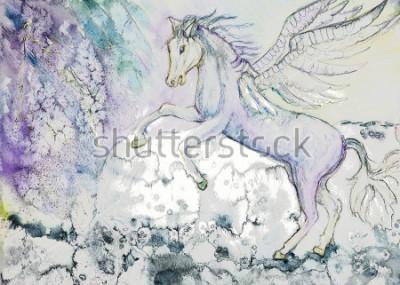 Quadro Cavalo com asas em tempestade. A técnica de toque nas bordas tem um efeito de crescimento suave devido à aspereza da superfície da mesa alterada do papel.
