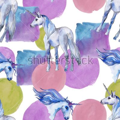Quadro Cavalo de unicórnio fofo. Conto de fadas. Teste padrão sem emenda do fundo do chifre animal do arco-íris. Textura de impressão de papel de parede de tecido. Animal selvagem do Aqua