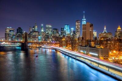 Quadro Cena da noite de New York City com skyline de Manhattan e Brooklin B
