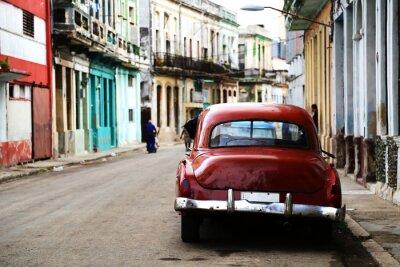 Quadro Cena da rua com carros antigos em Havana, Cuba