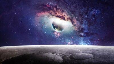 Quadro Cena do universo com planetas, estrelas e galáxias no espaço exterior que mostram a beleza da exploração do espaço. Elementos fornecidos pela NASA