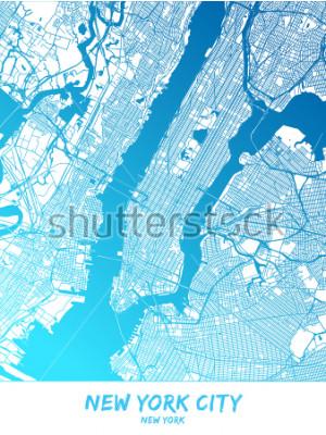 Quadro Centro da cidade de Nova Iorque e custa Mapa na versão sombria azul com muitos detalhes. Este mapa da cidade de Nova York contém alguns pontos com espaço para informações adicionais.