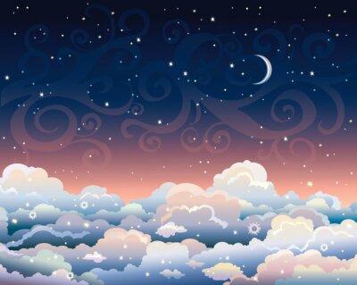 Quadro Céu nocturno com nuvens e lua.