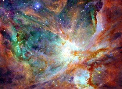 Quadro Céu nocturno com nuvens estrelas fundo nebulosa. Pintura colorida do fractal, luzes no assunto da arte, sumário, faculdade criadora. Planeta e galáxia em um espaço livre. Elementos desta imagem fornec