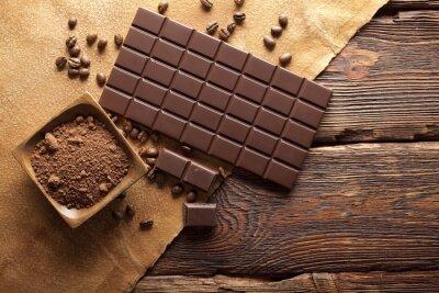 Quadro Chocolate escuro, cacau e grãos de café