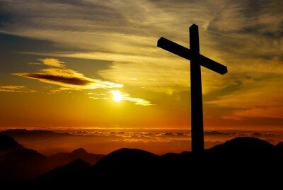Quadro Christian cross on sunset background