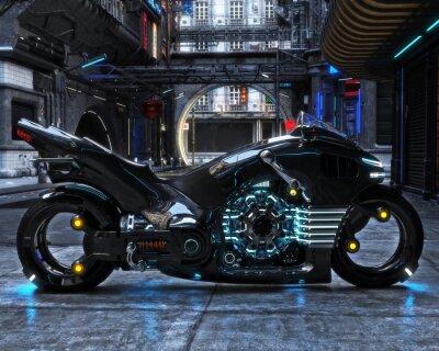 Quadro Ciclo de luz futurista em exibição. A motocicleta é exibida com uma renderização urbana futurista.3d