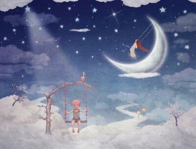 Quadro Cidade, crianças, fantástico, nuvens, céu
