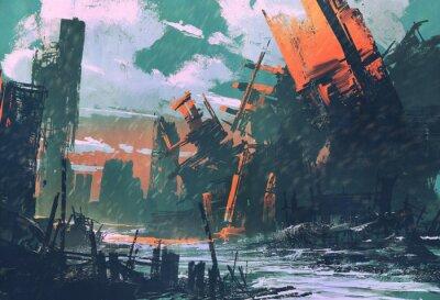 Quadro Cidade do desastre, cenário apocalíptico, pintura da ilustração