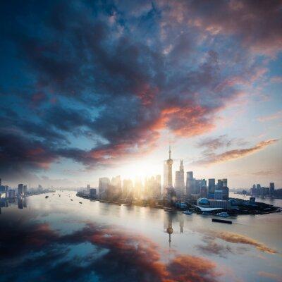 Quadro cidade do nascer do sol