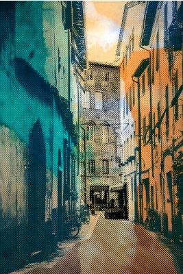Quadro cidade Lucca, cartão