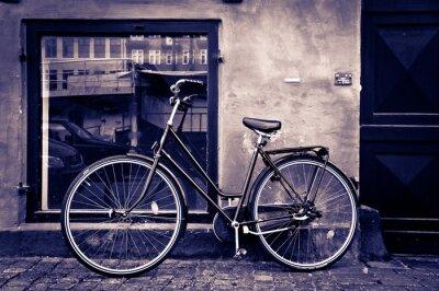 Quadro Cidade retro clássico da bicicleta do vintage em Copenhaga, Dinamarca