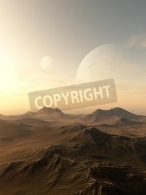 Quadro Ciência, ficção, Ilustração, planetas, levantar, sobre, Horizonte, desolado, Estrangeiro, mundo ...