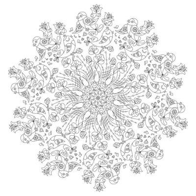 Quadro Circular, Padrão, pássaros, flores, Doodle, estilo