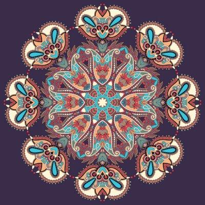 Quadro Círculo do ornamento do laço, redondo ornamental padrão geométrico doily