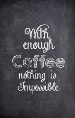 Quadro Citações do café escritas com giz em uma placa preta