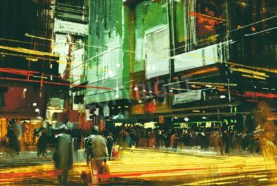 Quadro Cityscape, pintura, multidão, pessoas, ocupado, cruzamento, rua
