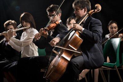 Quadro Clássica concerto de música: orquestra sinfônica no palco