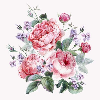 Quadro Classical vintage floral greeting card, watercolor bouquet of