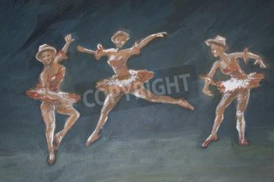 Quadro Clássico, femininas, balé, dançarinos, arte, Ilustração