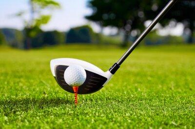 Quadro Close up do golfball no T para o primeiro acidente vascular cerebral