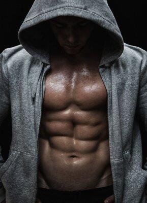 Quadro Close up do homem muscular esportes depois de pesos treinamento