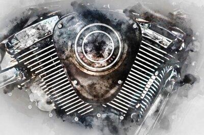 Quadro Close-up do motor da motocicleta. Pintura da aguarela de Digitas.