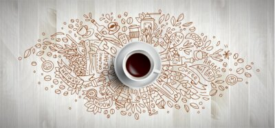 Quadro Coffee concept on wooden background - white coffee cup, top view with doodle illustration about coffee, beans, morning, espresso in cafe, breakfast. Morning coffee vector illustration. Hand draw and