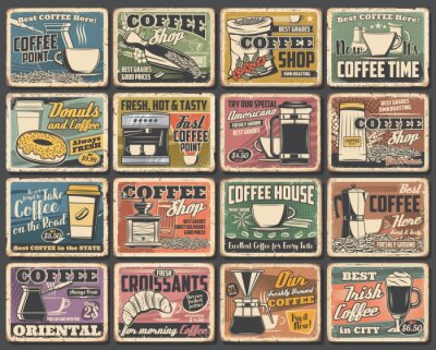 Quadro Coffee cups and espresso machine grunge posters of cafe vector design. Hot drink and beverage mugs with cappuccino, latte and mocha, coffee bean grinder, pot and paper cup, croissant, sugar and milk