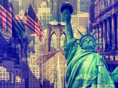 Quadro Colagem, contendo, vários, Novo, york, marcos