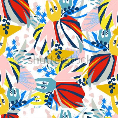 Quadro Colagem de papel dos elementos florais abstratos Mão da ilustração do vetor tirada Projeto pronto para o cartaz liso escandinavo contemporâneo do projeto, convite, cartão, projeto do t-shirt