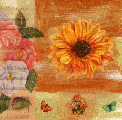 Quadro Colagem do vintage com partitura, borboletas, rosas e sunflow
